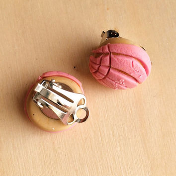 CLIP ON Concha Pan Dulce Polymer Clay Earrings