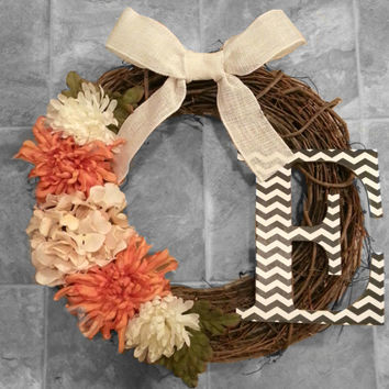 Grapevine Wreath with Chevron Monogram, Cream Hydrangea & burnt Orange and White Dahlias with a White Burlap Bow