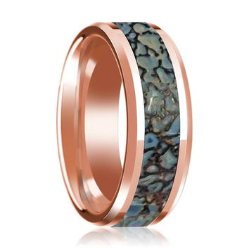 TITAN 14k Rose Gold Polished Men's Wedding Band with Blue Dinosaur Bone Inlay & Bevels - 8MM