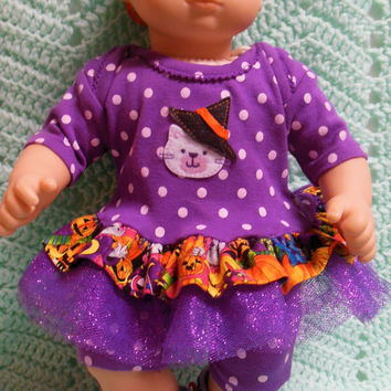 "AMERICAN GIRL Bitty Baby Clothes ""Not So Scaredy Cat"" (15 inch) Halloween doll outfit  dress, shorts, socks, and headband/ hair clip"
