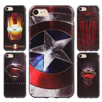 Superman, Spider man, Captain America, Batman, Iron man Silicone Phone Case for iPhone 7 6 6s 8 Plus X Cases Back Cover Skin