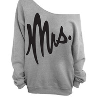 Mrs. - Slouchy Off the Shoulder Sweatshirt - Gray