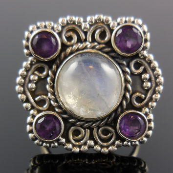 Moonstone  & Amethyst Cabochon Sterling Silver Ring - Size 6