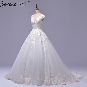 Ball Gown Bride Wedding Dress White Embroidery Tulle V Neck Simple Wedding Gowns