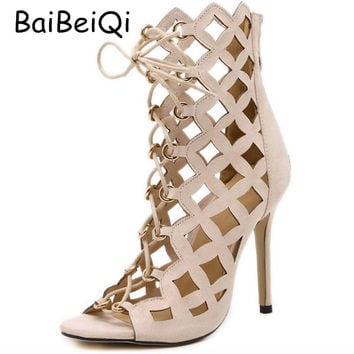 Sexy Hollow Cross Strap Gladiator High Heels Women Sandals Genova Stiletto Sandal open toe Lace Up Pumps Woman Roman Shoes