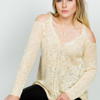 Eleanor Cold Shoulder Sweater - Ivory