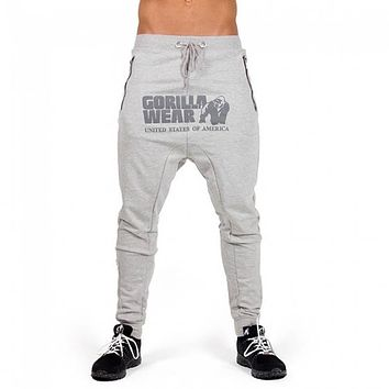 2018 New Fashion Brand Men Pants Gorilla Wear Print Solid Muscle Trousers Mens Straight Male Zipper Breathable Workout