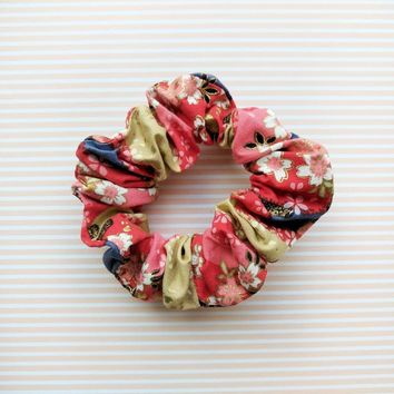 Fabric Scrunchie - Cherry Blossoms in Red Gold Multi