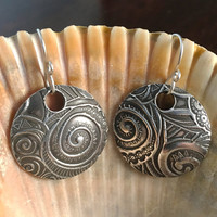 Holiday Gift Earrings - Round Silver Earrings - Handmade - Round Earrings - Silver Earrings - Fine Silver Earrings - Spiral Earrings