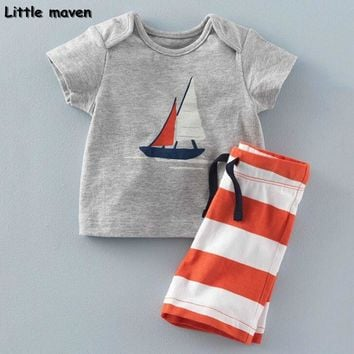 Little maven brand children clothing 2017 new summer baby boy clothes sailing boat children's cotton sets 20081