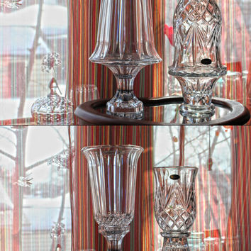 Vintage Fairy Lamp: Lead Crystal Glass Candle Votive ~ Dual Purpose Candlestick Holder & Fairy Light