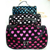 BDS - Black with Pink Dot (Heart Shape) Travel Toiletry Cosmetic Makeup Bag Organizer