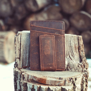 Vintage Handcrafted Slim Leather Wallet with Magnetic Money Clip