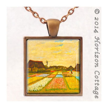 VanGogh's Flower Beds - Old Masters' Classic Artwork - Key Ring or Pendant - Your Choice of Finish