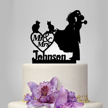 mr and mrs wedding cake topper, bride and groom silhouette wedding cake topper with cat and heart decor funny personalized name cake topper