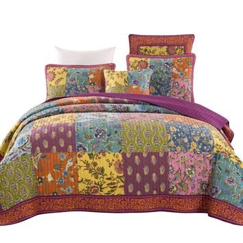 Tache Cotton Bohemian Carnival Garden Patchwork Quilted Coverlet Set (JHW-676)