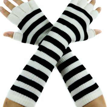 White and Black Stripe Fingerless Gloves Arm Warmers Alternative Clothing