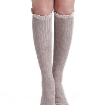 Womens Western Cowgirl Fashion Knee High Crochet Lace Ruffle Knit Boot Socks