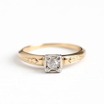 Vintage 14k Rosy Yellow & White Gold .13 Carat Diamond Solitaire Ring - Size 5 1/2 1940s Orange Blossom Fine Engagement Two Tone Jewelry