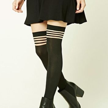 Striped Over-the-Knee Tights