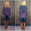 Check On It Hooded Flannel Plaid Top - NAVY & RED