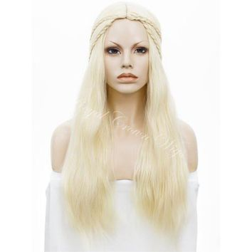 26 inch White Mother Of Dragons Synthetic Non-Lace Front Wig