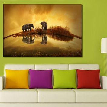 Canvas Paintings Wall Art HD Prints Home Decor Framework 1 Piece/4Pcs Elephants Wildlife River Thailand Pictures Animal Poster