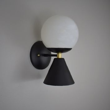 Mid Century Globe Cone Wall Sconce