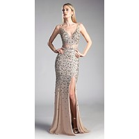 Gold Long Beaded V-Neck Prom Dress Sheer Midriff with Slit