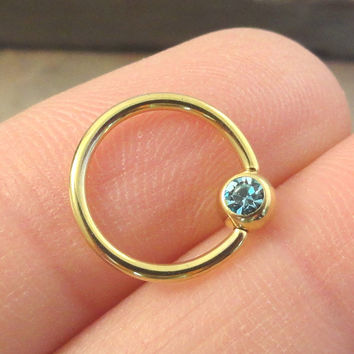 16 Gauge Gold CBR Cartilage Hoop Earring Tragus with Light Blue Crystal