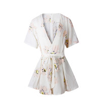 White Floral Print Cross Plunge V-Neck High Waist Rompers