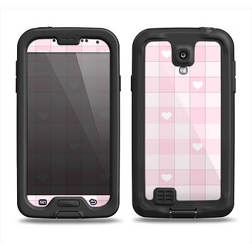 The Light Pink Heart Plaid Samsung Galaxy S4 LifeProof Fre Case Skin Set