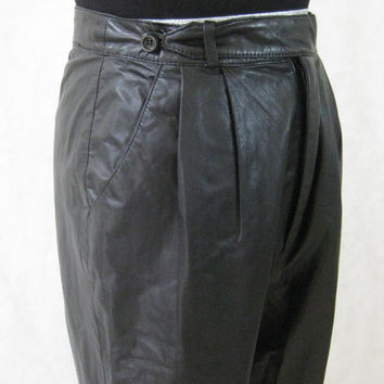"80s Leather Pants, Vintage Black Pleated Genuine Leather 3/4 Nylon Acetate Lined Pants Slacks Size 10 (26"" Waist)"