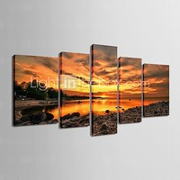 E-HOME® Stretched Canvas Art Under The Setting Sun Decorative Set of 5 - USD $ 184.99