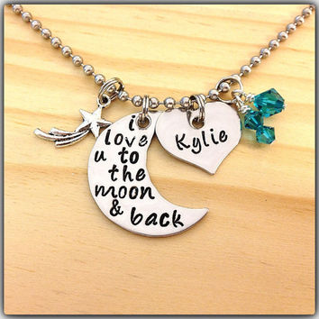 I Love You To The Moon And Back Hand Stamped Necklace Swarovski Crystal Birthstone Charms Jewelry with SHOOTING STAR CHARM