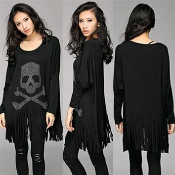 Punk Rock loose tassel tops batwing long sleeve skull heads print women T shirt fashion Europe Fashion casual style  Hot Sale