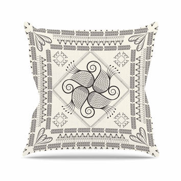 "Famenxt ""Paisley Into The Dream"" Beige Pattern Throw Pillow"