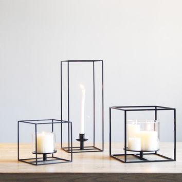 Square Black Cuboid Metal Tealight Candle Holders