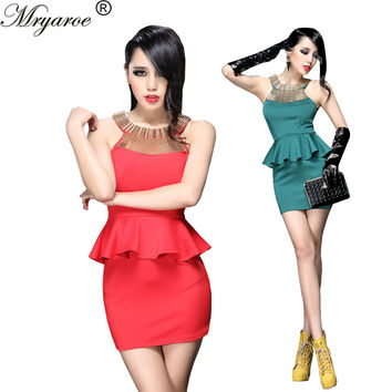 2017 New Red Black Green Short Cocktail Party Dresses Metal Embellished Elastic Peplum Sheath Bodycon Dress Women