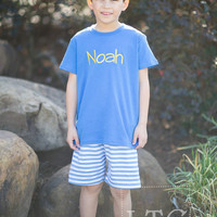 Boys Blue and white knit shorts with  Monogram