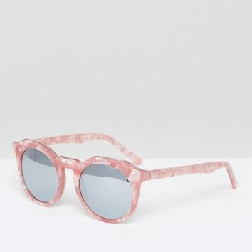 Pala Round Sunglasses in Pink Tortoiseshell at asos.com