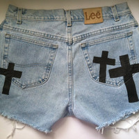 Denim Distressed (Cross) High Waist Shorts