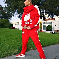 PUMA x Hello Kitty Womens Hoodie Sweatshirt Top Pants Sweatpants Set Two-Piece Sportswear