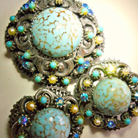 Victorian Revival Florenza Brooch Earrings Demi Parure Art Glass Turquoise Vintage Set
