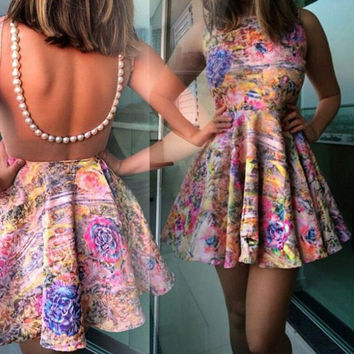 Floral Print Backless Sleeveless Flounce Dress