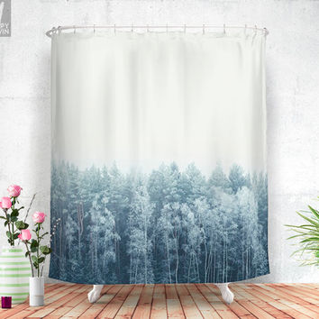 Frosty feelings  - Shower curtain - Bathroom decor - Home decor - Bohemian - Original - Adventure - Wanderlust - Nature - Forest - Winter.