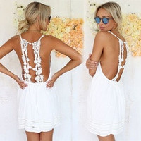 Sexy Women Summer Casual Sleeveless Backless Cocktail Short Mini Dress TOPS [7899825031]