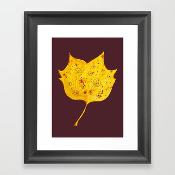 Fancy Watercolor Yellow Autumn Leaf Framed Art Print by borianagiormova
