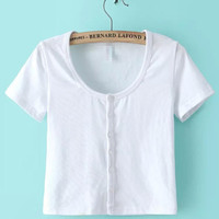 Short Sleeve Button Cropped Top