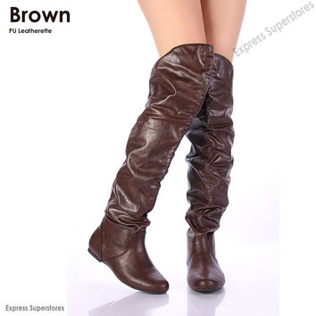 Tan Over The Knee Leather Boots - Yu Boots